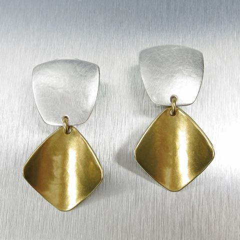 Marjorie,Baer,Rectangle,with,Concave,Leaf,Earrings,Marjorie Baer clip post earrings, Marjorie Baer Rectangle with Concave Leaf Earrings