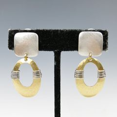 Marjorie Baer Square with Wire Wrapped Oval Ring Earrings - product images 5 of 7