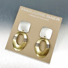 Marjorie Baer Square with Wire Wrapped Oval Ring Earrings - product images 6 of 7