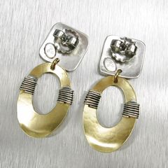 Marjorie Baer Square with Wire Wrapped Oval Ring Earrings - product images 4 of 7