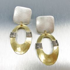 Marjorie Baer Square with Wire Wrapped Oval Ring Earrings - product images 1 of 7