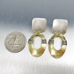 Marjorie Baer Square with Wire Wrapped Oval Ring Earrings - product images 2 of 7