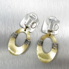 Marjorie Baer Square with Wire Wrapped Oval Ring Earrings - product images 3 of 7