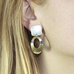 Marjorie Baer Square with Wire Wrapped Oval Ring Earrings - product images 7 of 7