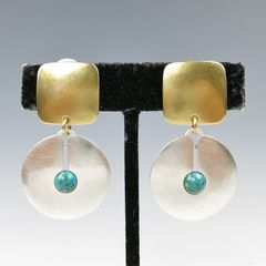 Marjorie Baer Square with Cutout Disc and Turquoise Bead Earrings - product images 5 of 7