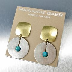 Marjorie Baer Square with Cutout Disc and Turquoise Bead Earrings - product images 6 of 7
