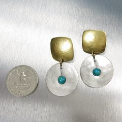 Marjorie Baer Square with Cutout Disc and Turquoise Bead Earrings - product images 2 of 7