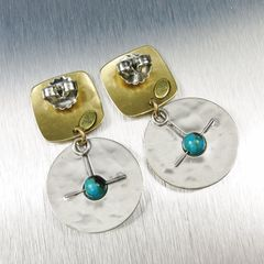 Marjorie Baer Square with Cutout Disc and Turquoise Bead Earrings - product images 4 of 7