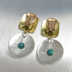 Marjorie Baer Square with Cutout Disc and Turquoise Bead Earrings - product images 3 of 7