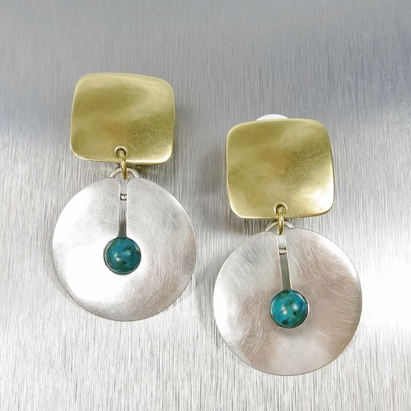 Marjorie Baer Square with Cutout Disc and Turquoise Bead Earrings - product image