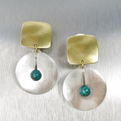 Marjorie Baer Square with Cutout Disc and Turquoise Bead Earrings - product images 1 of 7