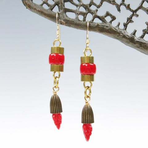 Jan,Michaels,Red,Feather,Earrings,Jan Michaels, Jan Michaels Jewelry, Jan Michaels earrings, Jan Michaels Red Feather Earrings