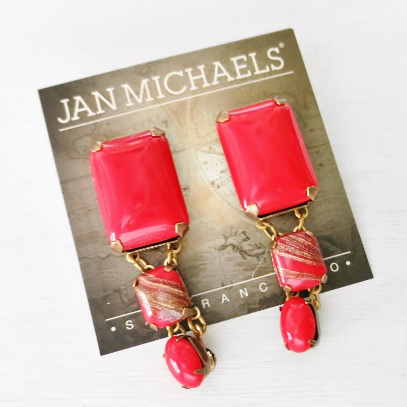 Jan Michaels Lipstick Red Earrings - product image