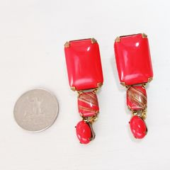 Jan Michaels Lipstick Red Earrings - product images 3 of 7