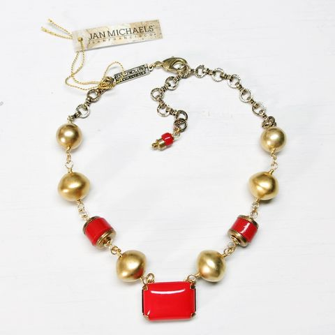 Jan,Michaels,Gold,and,Red,Pillow,Necklace,Jan Michaels Gold and Red Pillow Necklace, Jan Michaels necklace, Jan Michaels Jewelry on sale