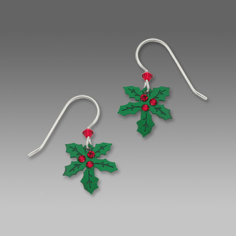 Sienna,Sky,Earrings,-,Holly,with,Three,Red,Berries,Sienna Sky Earrings, Adajio earrings Sienna Sky, Sienna Sky Colorado