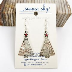 Sienna Sky Earrings - Filigree Silver Christmas Tree with Red Star - product images 2 of 4