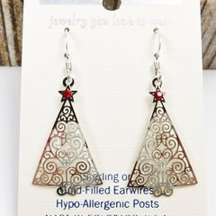 Sienna Sky Earrings - Filigree Silver Christmas Tree with Red Star - product images 3 of 4