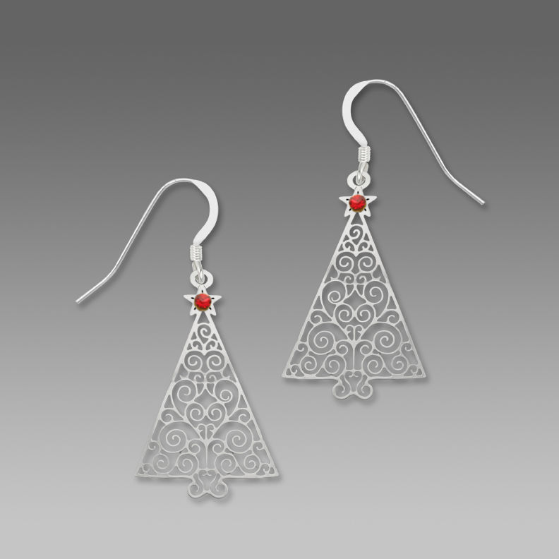 Sienna Sky Earrings - Filigree Silver Christmas Tree with Red Star - product image