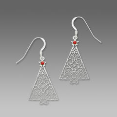 Sienna Sky Earrings - Filigree Silver Christmas Tree with Red Star - product images 1 of 4