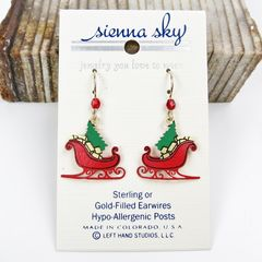 Sienna Sky Earrings - Red Christmas Sleigh with Tree and Gifts - product images 2 of 4