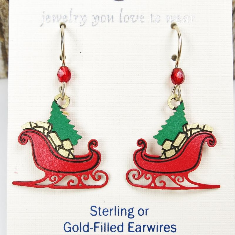 Sienna Sky Earrings - Red Christmas Sleigh with Tree and Gifts - product image