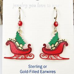 Sienna Sky Earrings - Red Christmas Sleigh with Tree and Gifts - product images 3 of 4