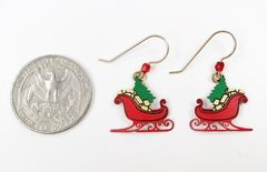 Sienna Sky Earrings - Red Christmas Sleigh with Tree and Gifts - product images 4 of 4