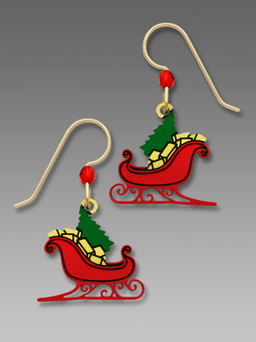 Sienna,Sky,Earrings,-,Red,Christmas,Sleigh,with,Tree,and,Gifts,Sienna Sky Earrings, Sienna Sky Jewelry, Sienna Sky Red Christmas Sleigh with Tree and Gifts Earrings, Sienna Sky 1780
