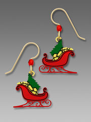 Sienna Sky Earrings - Red Christmas Sleigh with Tree and Gifts - product images 1 of 4