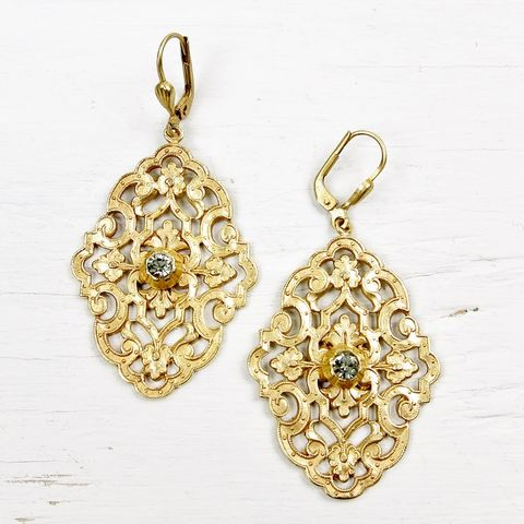 Catherine,Popesco,Filigree,Earrings,with,Crystal,Catherine Popesco Earrings, La Vie Parisienne Earrings, Catherine Popesco Jewelry, Catherine Popesco Paris