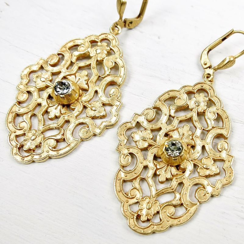 Catherine Popesco Filigree Earrings with Crystal - product image