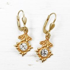 Catherine Popesco Old World Small Drop Earrings in Clear Crystal - product images 2 of 5