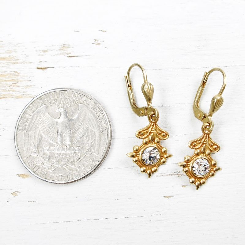 Catherine Popesco Old World Small Drop Earrings in Clear Crystal - product image