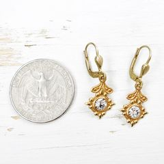 Catherine Popesco Old World Small Drop Earrings in Clear Crystal - product images 4 of 5