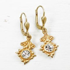 Catherine Popesco Old World Small Drop Earrings in Clear Crystal - product images 3 of 5