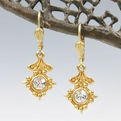Catherine Popesco Old World Small Drop Earrings in Clear Crystal - product images 1 of 5