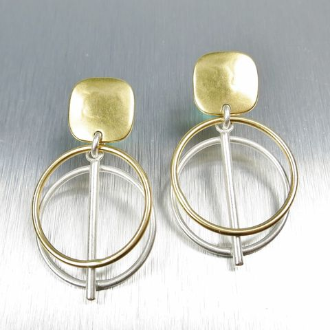 Marjorie,Baer,Layered,Circles,with,Bar,Drop,Earrings,Marjorie Baer clip post earrings, Marjorie Baer Layered Circles with Bar Drop Earrings