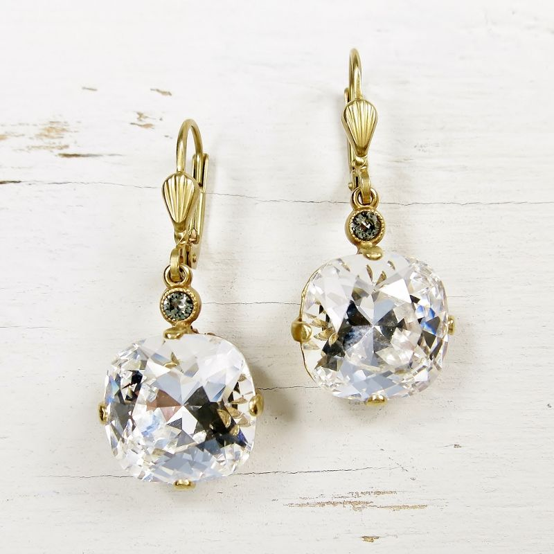 Catherine Popesco Large Crystal Earrings in Clear Crystal - product image