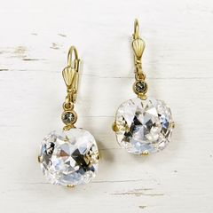 Catherine Popesco Large Crystal Earrings in Clear Crystal - product images 2 of 4