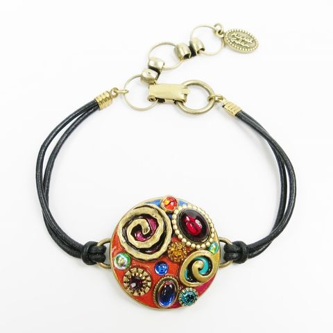 Michal,Golan,-,Round,Confetti,Black,Leather,Strap,Bracelet,Michal Golan, Michal Golan Confetti Collection, Michal Golan Round Confetti Black Leather Strap Bracelet
