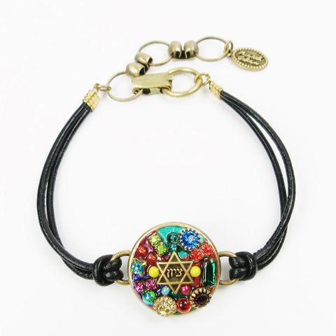 Michal,Golan,-,Multibright,Star,of,David,Black,Leather,Strap,Bracelet,Michal Golan Multibright Star of David Black Leather Strap Bracelet