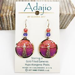 Adajio Earrings - Hand Painted Orange and Pink Disc with Shiny Gold Tone Moonshine Overlay - product images 2 of 4