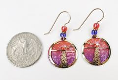 Adajio Earrings - Hand Painted Orange and Pink Disc with Shiny Gold Tone Moonshine Overlay - product images 4 of 4