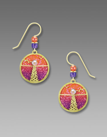 Adajio,Earrings,-,Hand,Painted,Orange,and,Pink,Disc,with,Shiny,Gold,Tone,Moonshine,Overlay,Adajio Earrings, Adajio earrings Sienna Sky, Adajio Jewelry, Adajio Colorado