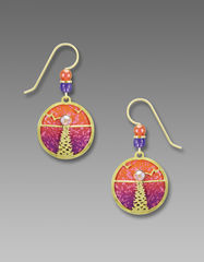 Adajio Earrings - Hand Painted Orange and Pink Disc with Shiny Gold Tone Moonshine Overlay - product images 1 of 4