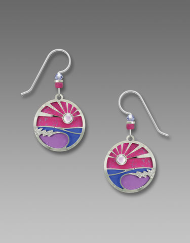 Adajio,Earrings,-,Pink,and,Purple,Sunset,Disc,with,Shiny,Silver,Tone,Foamy,Waves,Overlay,Adajio Earrings, Adajio earrings Sienna Sky, Adajio Jewelry, Adajio Colorado, Adajio 7787