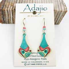 Adajio Earrings - Two Part Teal and Yellow Necktie with Retro Floral Design - product images 2 of 4