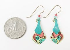 Adajio Earrings - Two Part Teal and Yellow Necktie with Retro Floral Design - product images 4 of 4