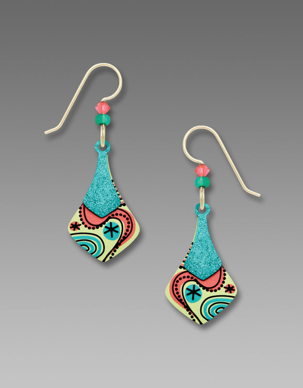 Adajio Earrings - Two Part Teal and Yellow Necktie with Retro Floral Design - product image